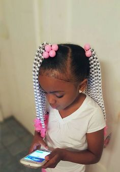 Braids for kids is one of the most simple yet effective hairstyles you can administer for African American children. Help seal in the moisture the easy way. Lil Girl Hairstyles, Black Kids Hairstyles, Kids Braided Hairstyles, Natural Hairstyles For Kids, My Hairstyle, Creative Hairstyles, Hairstyle Ideas, Teenage Hairstyles, Hairstyles 2018