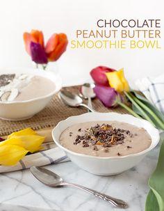 Chocolate Peanut Butter Banana Smoothie Bowl - vegan + gluten-free | glutenfreeveganpantry.com