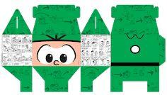 Passatempo da Ana: Caixinha - Turma da Mônica Paper Art, Paper Crafts, Super Mario Bros, Ladybug, Decoration, Christmas Crafts, Projects To Try, Printables, Baby Shower