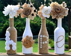 Twine wrapped wine bottles / Upcycled / featuring handmade roses spelling out 'Hope'