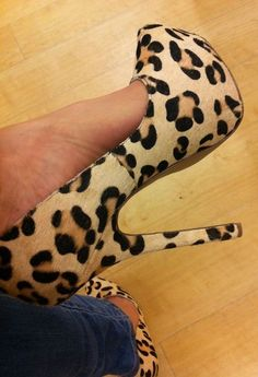 My leopard pony fur pumps