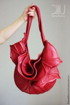 """Женские сумки ручной работы. Ярмарка Мастеров - ручная работа сумка кожаная """"Орхидея"""" красная. Handmade."""
