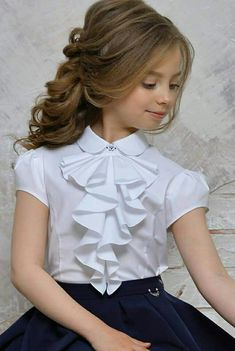 School kids Beautiful girls blouse with tuxedo neck Baby Girl Dress Patterns, Little Girl Dresses, Baby Dress, Girls Dresses, Flower Girl Dresses, Fashion Kids, Little Girl Fashion, Kids Gown, Kids Frocks Design