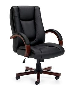 GLB OTG 11300B Is A Black Luxhide Executive Chair With Wood Arms And Base
