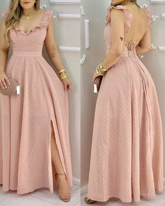 Dress Outfits, Casual Dresses, Girl Outfits, Fashion Dresses, Formal Dresses, Trend Fashion, Look Fashion, Girl Fashion, Side Slit Maxi Dress