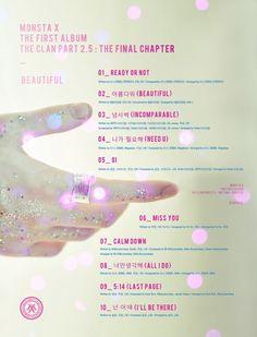 [#MONSTA_X]  #몬스타엑스 #TheCLAN 2.5   THE FINAL CHAPTER <#BEAUTIFUL>  <#TRACK_LIST> 20170321 #COMEBACK #더클랜 #트랙리스트