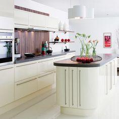 Impressive White Kitchen Cabinets with Porcelain Tile Floor Design - My Dream House White Gloss Kitchen, White Kitchen Cabinets, Kitchen Cabinetry, Kitchen Tiles, New Kitchen, Kitchen Living, White Kitchen Floor Tiles, Design Kitchen, Glossy Kitchen