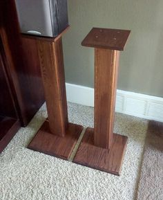 Rustic Red Oak Surround Sound Speaker Stands By PJsCraftingCorner