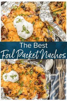 BEST Nachos Recipe - These foil packet nachos are loaded with beef, tomatoes, gr. BEST Nachos Recipe - These foil packet nachos are loaded with beef, tomatoes Tin Foil Dinners, Foil Packet Dinners, Foil Pack Meals, Hobo Dinners, Foil Packet Recipes, Foil Packet Desserts, Grilled Foil Packets, Chicken Foil Packets, Best Nacho Recipe