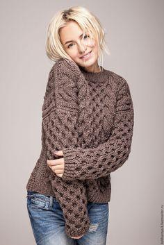 "Купить свитер ""Соты"" - белый, серый, синий, бежевый, коричневый, свитер, оверсайз, соты"
