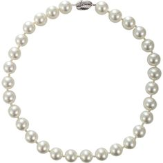 Fantasia Jewelry Pearl Necklace ($480) ❤ liked on Polyvore featuring jewelry, necklaces, white necklace, pearl necklace, pearl jewellery, white jewelry and pin jewelry