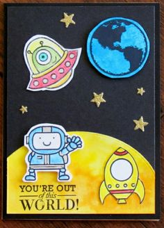 For this fun little card, I created the moon background using distress ink, and cut a circle using MTF Circle Stax. The Earth was stamped on another distressed blue background with Hero Arts - EPIC LOVE CL645 Operation Write Home. The little astronaut is from Paper Smooches SPACE CADET Clear Stamps. They were colored using Derwent Inktense pencils.
