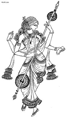 According to the Matsya Purana, Saraswati evolved from the mouth of Brahma. Such was her beauty and grace that Brahma pursued her. As she fled in different directions a head appeared and so Brahma is attributed with five heads. She was the most unique creation of Brahma. The moon and the lotus associated with Saraswati are both symbols of eternal womanhood.