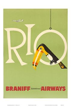 Braniff Air, Rio, ca.1960s Poster - bei AllPosters.ch