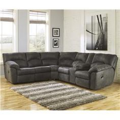 Tambo - Pewter 2-Piece Reclining Corner Sectional with Center Console by Signature Design by Ashley at Conlin's Furniture