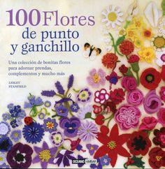 """Libro ganchillo. """"100 flores de punto y ganchillo""""."""