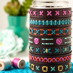 I love the way embroidery floss looks on leather! Stitch your own leather bracelet with this DIY kit.