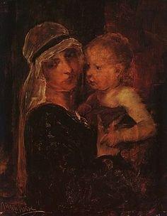 Munkácsy Mihály (1844-1900) - Tanulmány Krisztus Pilátus előtt című képhez - Anya gyermekkel