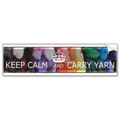 Keep Calm and Carry Yarn Bumper Sticker - Knitting <3