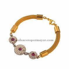 pulsera de cadena cruzadas dorada de acero inoxidable con diamentes para mujeres