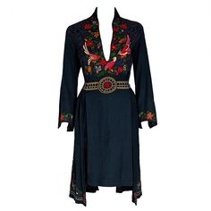 1920's Colorful Bird-Garden Novelty Embroidered Cotton Bohemian Ethnic Dress | From a collection of rare vintage day dresses at https://www.1stdibs.com/fashion/clothing/day-dresses/