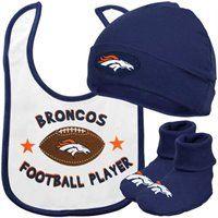 Gerber Denver Broncos Newborn White-Navy Blue 3-Piece Bib, Bootie & Beanie Set