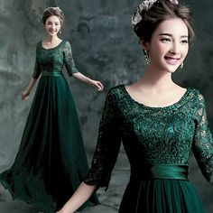 Cheap dress deal, Buy Quality dress catalogue directly from China dress up girls party Suppliers: Cheap fast delivery vestidos largos long lace evening dresses half sleeves chiffon emerald green evening dresses Prom Dresses 2015, Prom Party Dresses, Ball Dresses, Ball Gowns, Bride Dresses, Prom Gowns, Dress Prom, Formal Dresses, Occasion Dresses