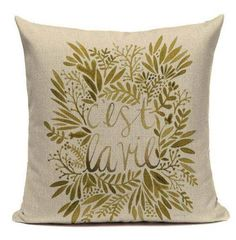 C'est la vie LUXURIOUS Gold Foil throw pillow covers, Gold Christmas Cushion/Pillow Cover 18 x 18 Inch