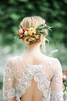 Bridal updo with colourful floral crown Flower Crown Wedding, Wedding Hair Flowers, Bridal Flowers, Flowers In Hair, Boho Wedding, Wedding Colors, Wedding Dresses, Trendy Wedding, Fall Dresses