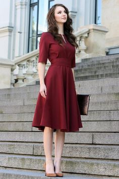 Plus Size Dress Cocktail Dress Womens Dress Red Dress Burgundy Dress Rust Women Dress Knee Short Sleeve Dress 1950 es Dress Plus Größe Kleid Cocktail-Kleid Burgund rotes Kleid Rost Trendy Dresses, Women's Dresses, Cute Dresses, Casual Dresses, Short Sleeve Dresses, Awesome Dresses, Party Dresses, Office Dresses, Dresses Online
