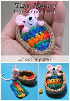 What a sweet tiny little mouse in a walnut shell amigurumi crochet pattern! Love his colourful blanket here! What a sweet tiny little mouse in a walnut shell amigurumi crochet pattern! Love his colourful blanket here! Crochet Animal Patterns, Crochet Stitches Patterns, Stuffed Animal Patterns, Crochet Patterns Amigurumi, Amigurumi Doll, Crochet Dolls, Crocheted Toys, Easy Crochet Animals, Crocheting Patterns