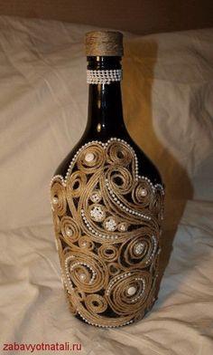 декор бутылок шпагатом - Google Search