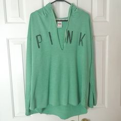 Victoria Secret Pink hoodie sweatshirt Sz L Victoria Secret PINK green hoodie sweatshirt Sz L. I would say GUC due to some pilling (see photo) Looks great with leggings and comfortable for lounge wear!! PINK Victoria's Secret Tops Sweatshirts & Hoodies