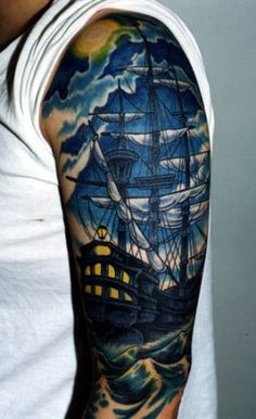 I LOVE this...I dont know why I love ship tattoos so much. If I had a love for sailing...or water...or boats...Id get this.