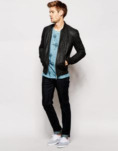 Pepe Jeans | Pepe Leather Jacket Neo Slim Fit Bomber Washed Black at ASOS
