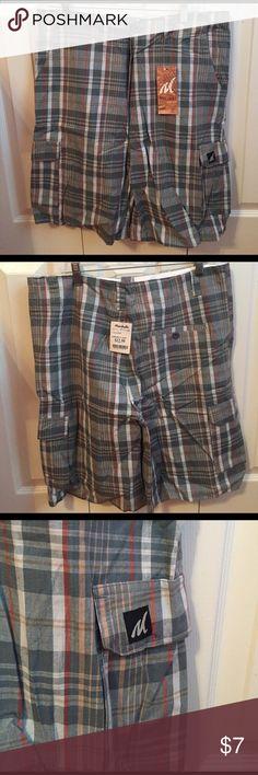 NWT Men's Molokai Vintage plaid shorts NWT Men's cargo shorts. Blue, red, white, yellow plaid. Size 34 waist. 100% Cotton. molokai vintage Shorts Cargo