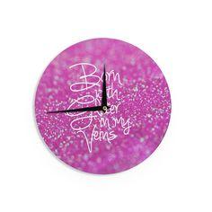 "Kess InHouse Beth Engel Born with Glitter"" Pink Sparkle Wall Clock 12"" (Born with Glitter) (Wood)"