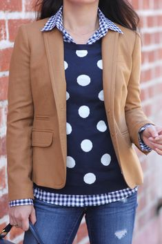 Love this pattern combination on StylishPetite.com | Preppy Layers: Gingham Shirt, Polka Dots and J.Crew Schoolboy Camel Blazer #heirloomfinds