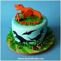Dinosaur cake - A small cake to selebrate a little dinosaur lover. Silhouettes on the sides are cut using Cricut cutter. The topper is made of sugar paste. 20 servings of Red Velvet cake with White Chocolate Cream Cheese Buttercream. T Rex Cake, Dino Cake, Dinosaur Birthday Cakes, Dinosaur Party, 4th Birthday, Dinosaur Cakes For Boys, Birthday Ideas, Dinasour Cake, Cute Cakes