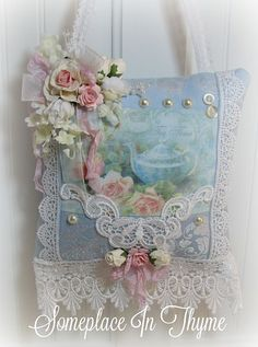 Tea Time Hanging Sachet-pillow sachet, pink roses, silk flowers, pearls, ribbons, lace, home decor, shabby decor, pillow, sachet, romantic decor, cottage decor, handmade gift, handmade pillow, handmade sachet