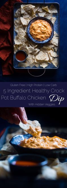 5 Ingredient Crock Pot Buffalo Chicken Dip with Cauliflower - This dip is made with cauliflower so it's packed with hidden veggies and extra creamy! It's a healthy, low carb and gluten free appetizer for game day! | Foodfaithfitness.com | @FoodFaithFit via @FoodFaithFit