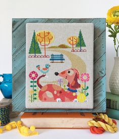 10% OFF Pre-order NEW Dog Park cross stitch pattern by Satsuma Street Jody Rice at thecottageneedle.com nursery pet wall art puppy by thecottageneedle