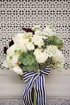 Maybe without the ribbon!!   navy and white wedding | White and green wedding bouquet tied with navy striped ribbon