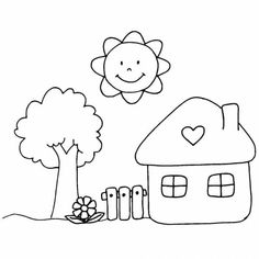 Preschool Coloring Pages, Easy Coloring Pages, Animal Coloring Pages, Coloring Pages For Kids, Coloring Books, Colouring, Basic Drawing For Kids, Drawing Lessons For Kids, Easy Drawings For Kids