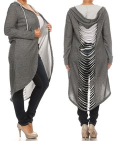 Plus Size Long Sleeve Slashed Hoodie Cardigan