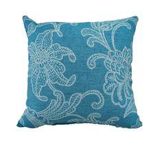 Set of 2 Turquoise & White Sea Flower Indoor/Outdoor Throw Pillows | Fruugo