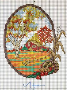 ru / Photo n ° 1 - Saisons - Nadya-S Cross Stitch House, Just Cross Stitch, Cross Stitch Heart, Embroidery Art, Cross Stitch Embroidery, Cross Stitch Designs, Cross Stitch Patterns, Cross Stitch Landscape, Cross Stitch Pictures