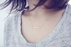 gold filled bar necklace layering minimalist dainty by PetiteCo
