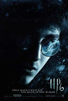 """27x40 Inch Harry Potter and The Half Blood Prince Poster features a close-up of Harry Potter with the image of Albus Dumbledore reflected in his glasses. The text on the poster reads, """"ONCE AGAIN I MUST ASK TOO MUCH OF YOU, HARRY"""". Get it now at http://harrypottermovieposters.com/product/harry-potter-and-the-half-blood-prince-movie-poster-style-f-27x40-inch-one-sheet/"""