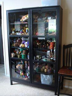 a crafty corner | yarn storage, apothecaries and yarns